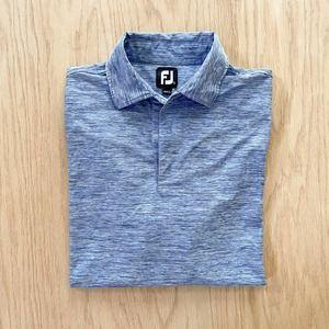 Mens FOOTJOY FJ Stretch Lisle Heathered Stretch Polo Shirt Large L Blue
